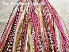 Lot 25 Grizzly Feathers Hair Extensions Thin Pink Natural Brown NATIVE Princess