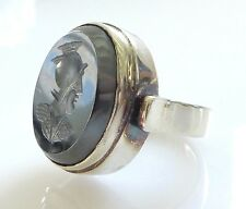 Vintage Roman Centurion Hematite Intaglio Wax Seal Silver Ring 8 Antique Cameo