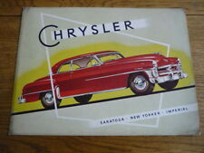 CHRYSLER SARATOGA, NEW YORKER & IMPERIAL 1952 CAR BROCHURE