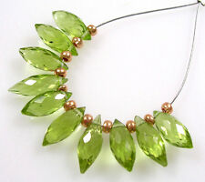 10 GENUINE GREEN PERIDOT FACETED MARQUSE DEW DROP BRIOLETTE BEADS  9-11 mm  P4