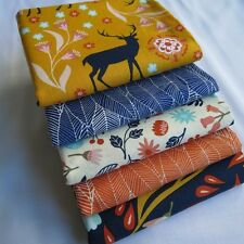 Deer leaves indigo mustard floral ivory mango designer fabric bundle