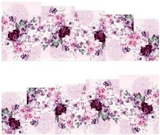 Nail Art Water Decals Stickers Transfers Pink Purple Flowers (DA58)
