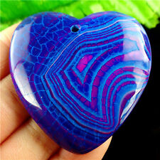 """GEM"" BLUE WITH PURPLE SWIRLS DRAGON VEINS FIRE AGATE ""HEART"" PENDANT MB 1274"