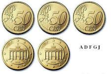 5 x 50 Euro Cent Kursmünzen BRD Deutschland 2012 ( ADFGJ ) stempelglanz