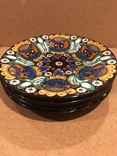 "4 Antique Thoune Owl Swiss Majolica Pottery 7"" Plates"