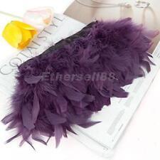 Turkey Feather Dyed Fringe Trim Purple Decoration 72''