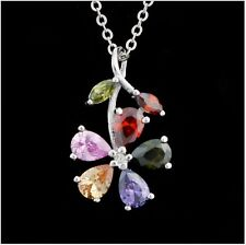 MultiColor Zircon Gemstone Flower Pendant 925 Sterling Silver Chain Necklace P19