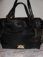 Juicy Couture Malibu Nylon Black Purse Handbag Satchel Ribbon Bow Gold YHRUS070