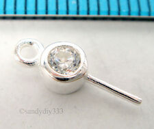 2x STERLING SILVER CZ CRYSTAL PENDANT CLASP PEARL BAIL PIN CONNECTOR 4.3mm #1719