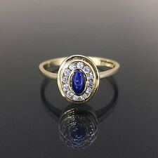 Estate 14k Yellow gold natural White & Blue Star Sapphire oval Bezel set ring