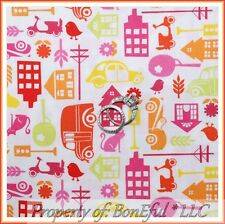 BonEful Fabric FQ Cotton Quilt Baby Girl White Pink City Cat Bird Car Busy Town