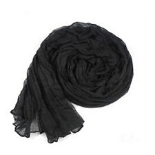 Colorful Womens Ladies Soft Wrinkle Long Cotton Crinkle Scarf Shawl Black