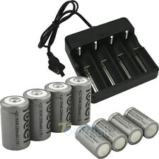 8x 3.7V CR123A 123A CR123 16340 2200mAh Rechargeable Battery BTY + UL Charger US