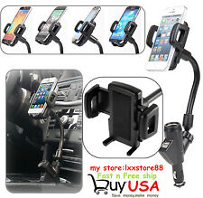 Dual USB Port Cigarette Lighter Socket Car Charger Mount Holder for Cell Phone #