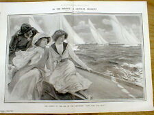 Large 1909 engraving SAILING on the RIVER - 2 women on a sailboat in the Wind