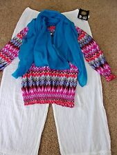 Women's Clothing Lot*  Boho Beachy Pants* Top* Scarf* Size Large*