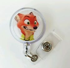 Disney's ZOOTOPIA Nick Wilde, Retractable Badge Name Tag ID Holder, Glitter Dome