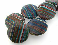 Colorful RAINBOW CALSILICA 40mm Coin Pendant Bead