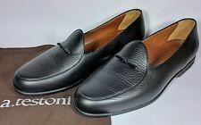 A. Testoni Men's Black Leather Loafer (Belgian Mocassin) 11.5 D
