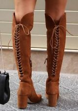 ZARA SUEDE LEATHER LACE UP HIGH LEG BOOTS BLOCK HEEL ZIP BLOGGERS NEW 36/ 6/ 3