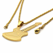 "Mens Gold Plated Stainless Steel Guitar Pendant 2mm 24"" Inch Rope Chain Necklace"
