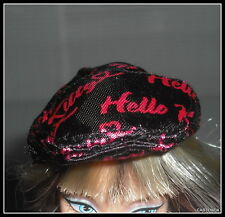 HAT BARBIE MATTEL  MODEL MUSE DOLL HELLO KITTY  BLACK & PINK  CAP ACCESSORY ITEM