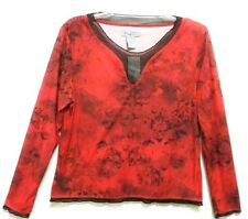 NWT!!  ANALOGY WOMEN'S Sz LARGE Red L/S FLORAL NATURE PRINT BLOUSE KNIT TOP
