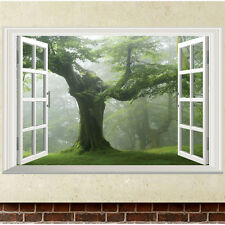 Green Old Tree 3D Window Wall Sticker Removable Vinyl Decal Mural Art Home Decor