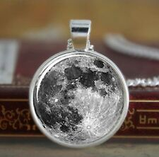 """Full Moon 1"""" Diam. 925 Sterling Silver Plated Pendant Chain Necklace Space P05"""