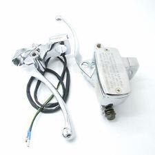 """1"""" Universal Motorcycle Front Brake Clutch Master Cylinder Levers Set Reservoir"""