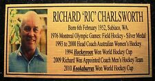 "RICHARD ""RIC"" CHARLSWORTH Hockey Plaque gold"