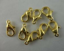 100pcs  12 mm golden  plated good Lobster clasp