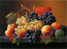 Huge Oil painting verin Roesen - Still Life of Fruit on a Marble Tabletop canvas