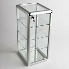 Glass Counter Top Aluminum Frame Locking Jewelry Display Case with 3 Shelves
