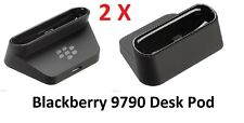 2 Genuine BlackBerry Bold 9790 Desktop Charging Pod Cradle Stand + 2 x 1m Cables