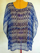 Ladies Womens Casual Blue Chiffon Kaftan Blouse Top Shirt Millers Size 16 NWT