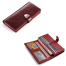 Women lady Real Leather clutch snap wallet red wallet credit card cash wallet
