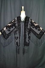 Art to Black Silk Burnout Velvet Fringe Kimono Opera Coat Duster Jacket New E024