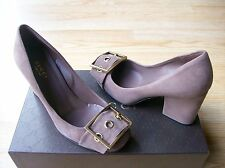 $650 Gucci Kesha Shoes Pumps Buckle Ornament Logo Old Mauve Suede sz 36 US 6 NIB
