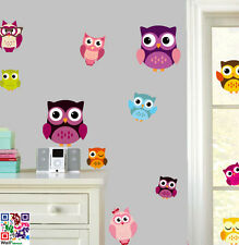 Cute Owls - Pack of 15 Wall Art Vinyl Stickers - Animal Birds Transfers Decals