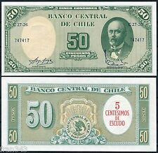 CHILE 5 centesimos de escudo on 50 pesos 1960 Pick 126 B serie C27-26  SC /  UNC