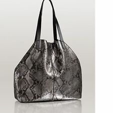 New Women's GUESS Metallic Python-embossed Genuine Leather Tote Handbag