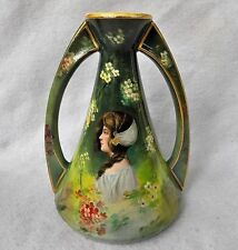 Stunning Late 19th C Artist Signed (Kosak) Royal Bonn Portrait Vase w/ Maiden