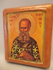 Saint Gregory Gregorio Greek Orthodox Byzantine Rose Gold Christian Icon on Wood