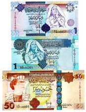 Libya 3 Notes 1,1 & 50 Dinars Uncirculated Notes { Mummer Gaddafi }