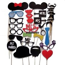 31PCS DIY Masks Photo Booth Props Mustache On A Stick Wedding Birthday Party