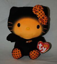 "TY Beanie Babies Hello Kitty Sanrio Halloween 6"" Stuffed Plush Toy Black Orange"