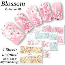 4x Full Cover Nail Art Water Stickers Wraps Transfers Cherry Apple Blossom BN078
