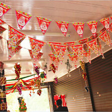 Hot 2.0 m 8 Flags Merry Christmas Cheer Party Paper Pennant Flag Banner Bunting