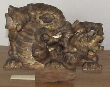 Antique Chinese? gilt wood temple carving dragon/elephant tree branches 11x15x6""